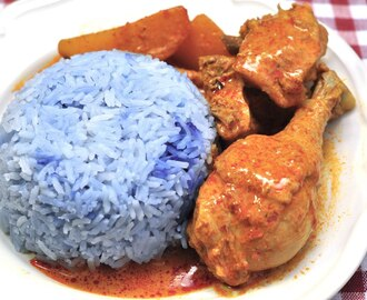 Blue Pea Flower Fragrant Rice With Curry Chicken