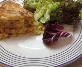 HAM CHEESE AND ONION POTATO CORN PIE