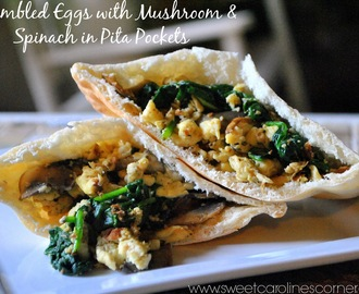Scrambled Eggs with Mushroom & Spinach in Pita Pockets (Ovos Mexidos com Cogumelos & Espinafre em Pão Pita)