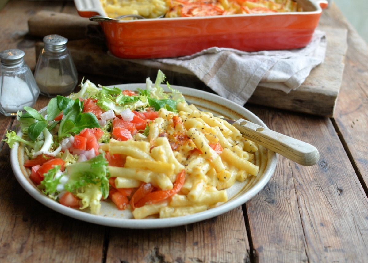 Healthy Three Cheese Macaroni Cheese Gratin