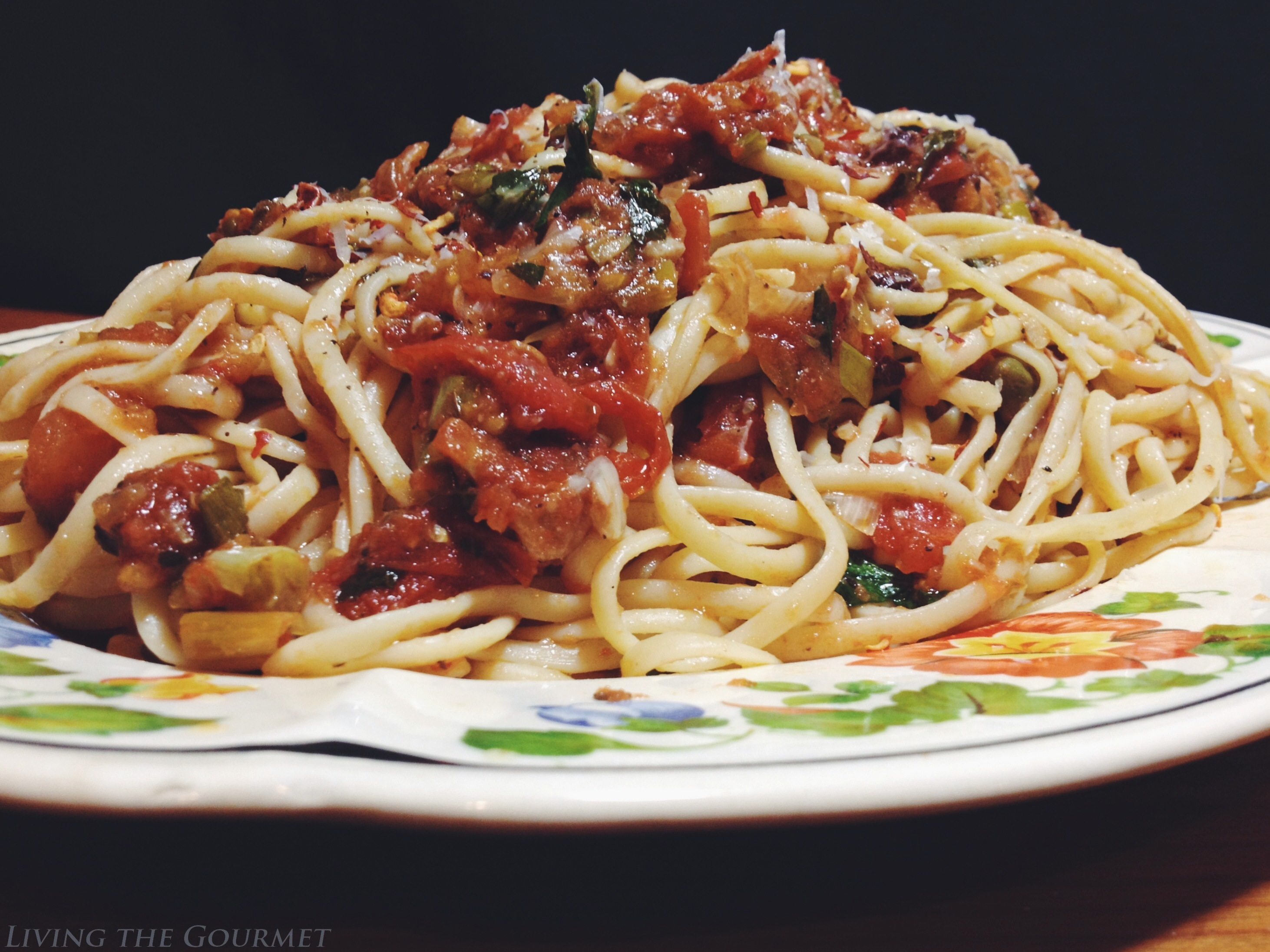 Fresh Tomato & Anchovy Sauce with Spaghetti {featuring Segura Viudas Estate Sparkling Wines}