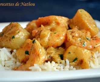 Riz au gambas et Saint-Jacques, sauce curry et estragon