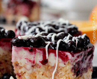 Blueberry and White Chocolate Cheesecake Rice Krispie Treats