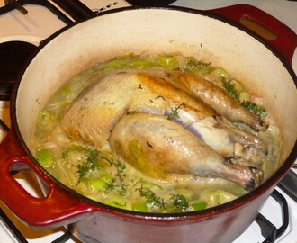 Pot Roast Pheasant, Leeks, Pancetta and Thyme Stew with Sweet Potato Mash Recipe