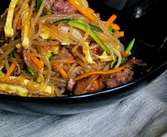 Japchae 잡채 (Sweet Potato Noodles with Beef & Vegetables)
