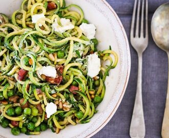 "bitsofcarey wrote a new post, ""Courgetti"" with Peas, Pancetta & Goat's Cheese, on the site Bits of Carey"