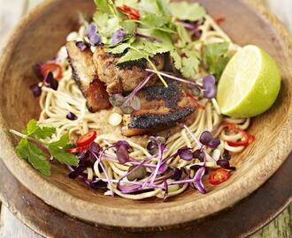 My favourite hot & sour rhubarb & crispy pork with noodles