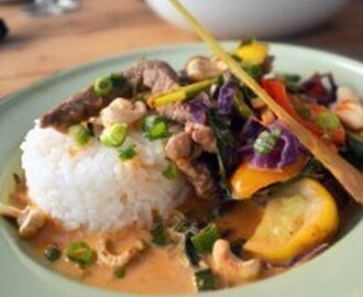 Red Coconut Thai Curry with grass-fed beef, sesame rice and roasted cashew nuts