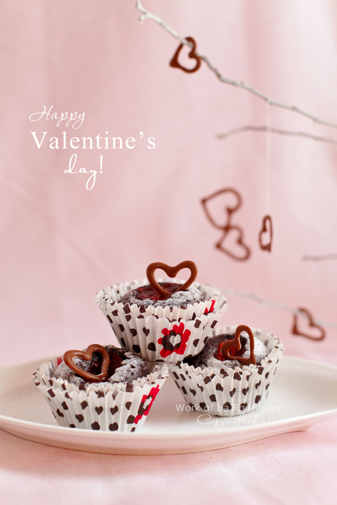 Tamarillo dropped chocolate cupcakes and happy Valentine's Day!