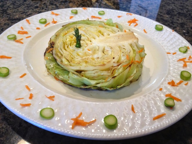 Grilled head of cabbage
