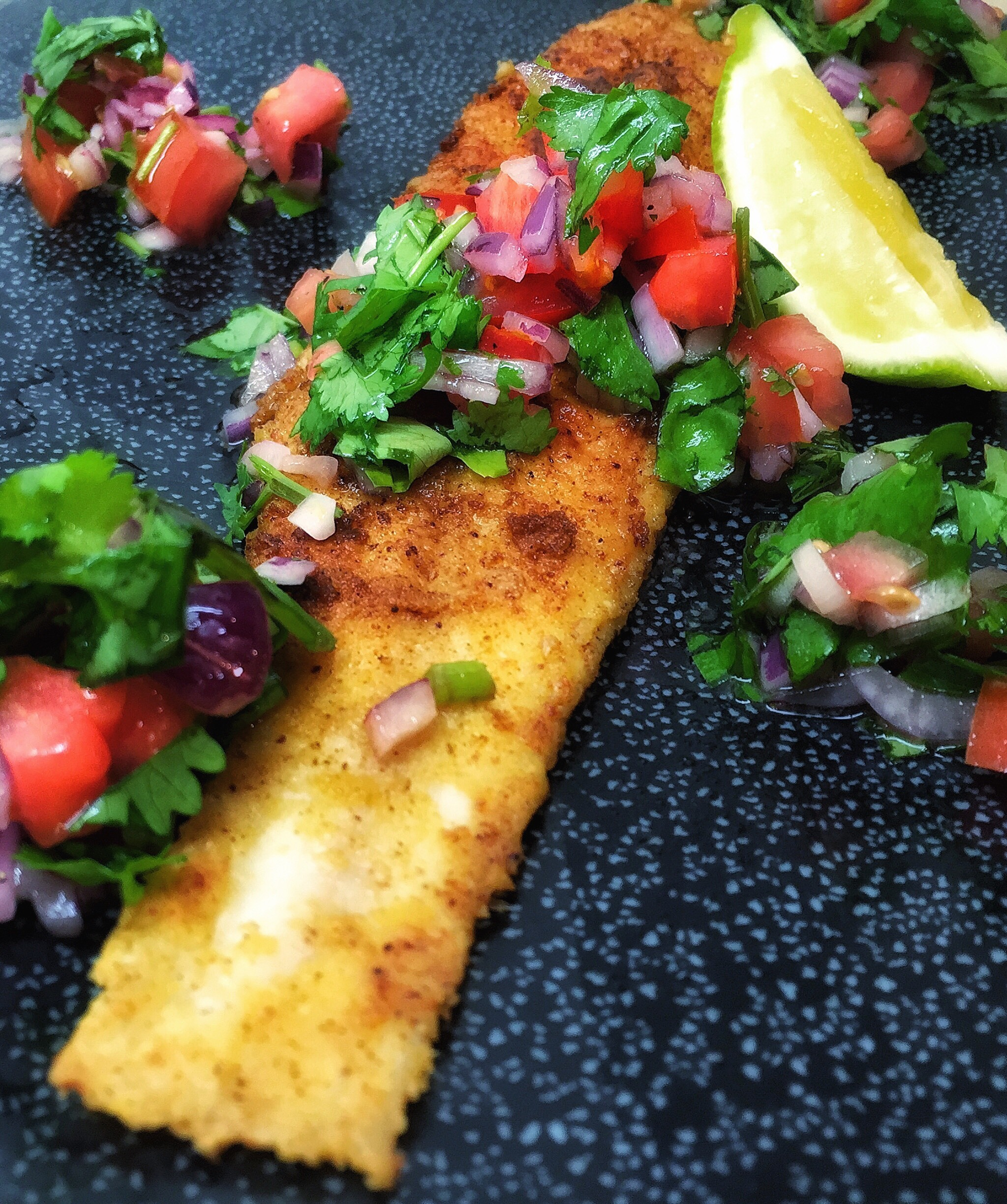 Chickpea Battered Sole with Tomato & Basil Salsa