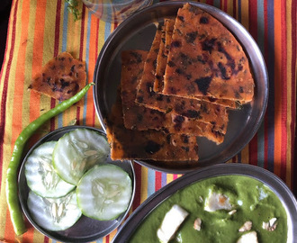 Badami Saag Paneer - no onion, no garlic version  | Gluten Free Gravy {Can be Vegan too}
