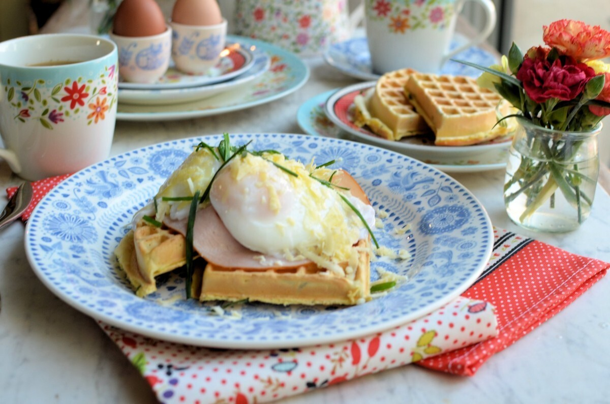 Buttermilk Chive Waffles with Turkey & Cheesy Poached Eggs