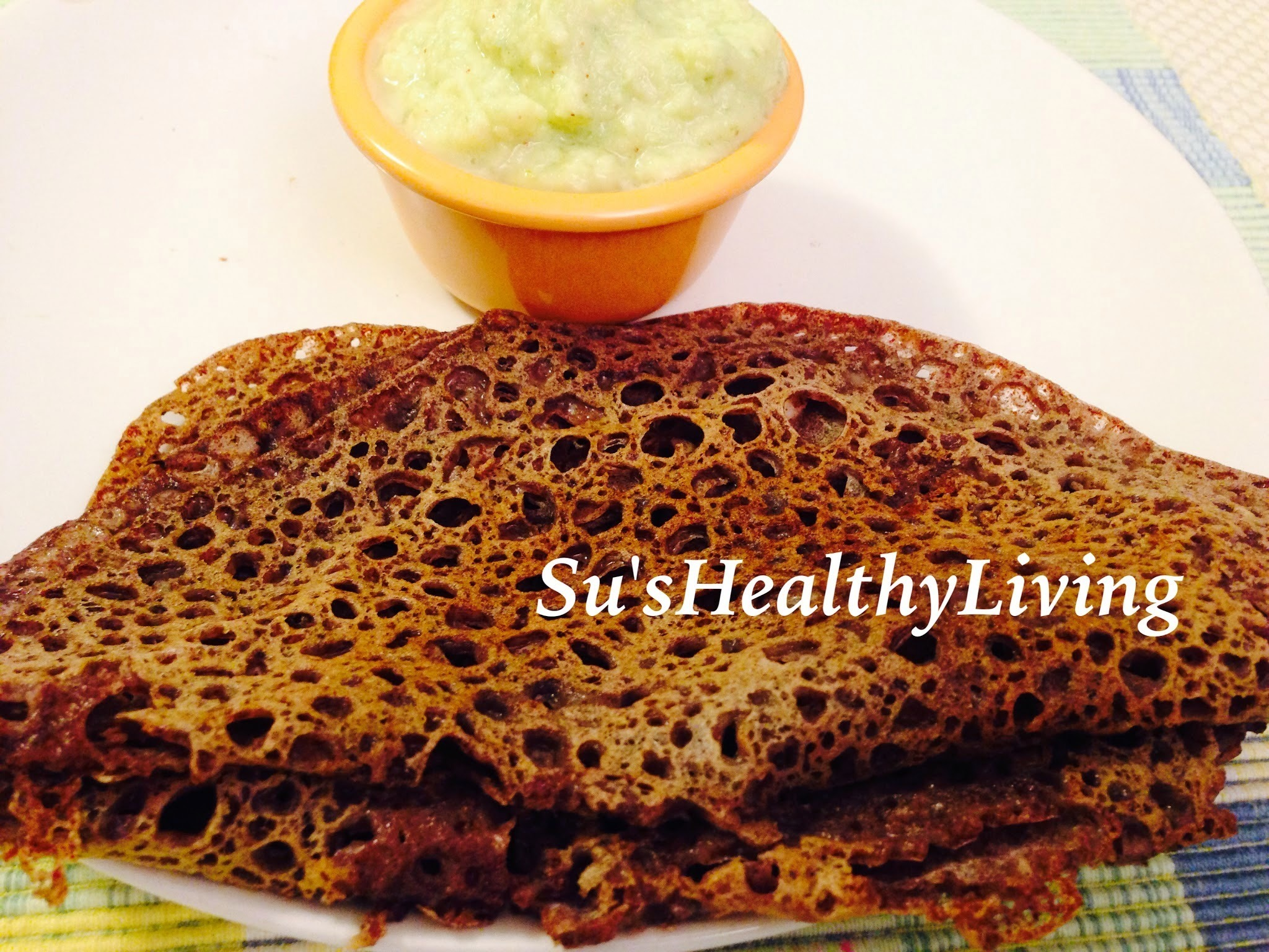 Ragi  Phanna Polo ( Instant seasoned finger millet crepes) Vegan, GF, NF; Meatless Monday