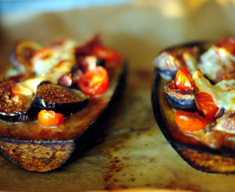 Baked eggplant, figs & goat cheese... & the meaning of sharing