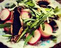 Arugula Mushroom Radish Salad with Roasted Garlic Balsamic Vinaigrette