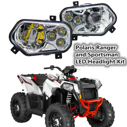 2 X Polaris Ranger and Sportsman LED Headlight Kit ATV UTV Light Accessories Projector Headlight for Polaris Ranger Side X Sides