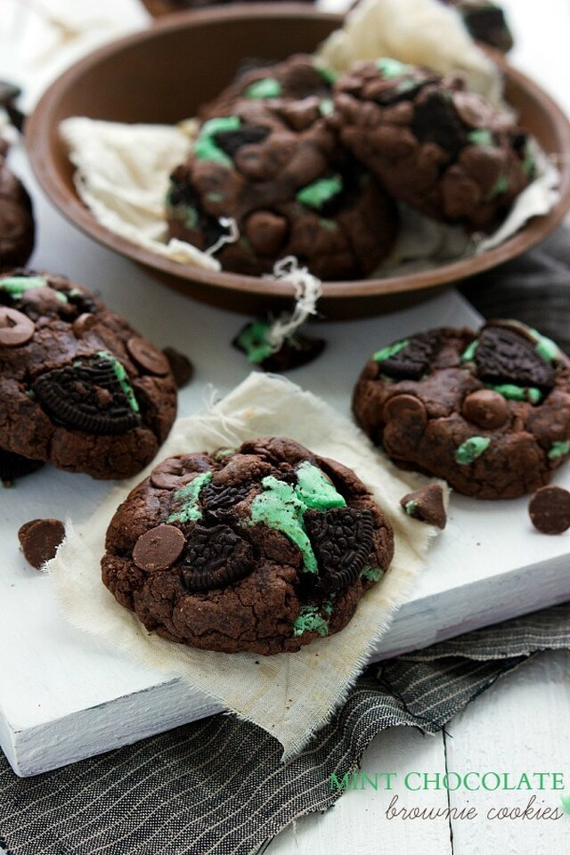 Mint Chocolate Oreo Stuffed Brownie Cookies