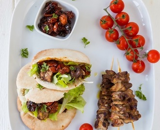 Pita Bread with Pork Barbecue Skewers and Slow Roasted Tomatoes