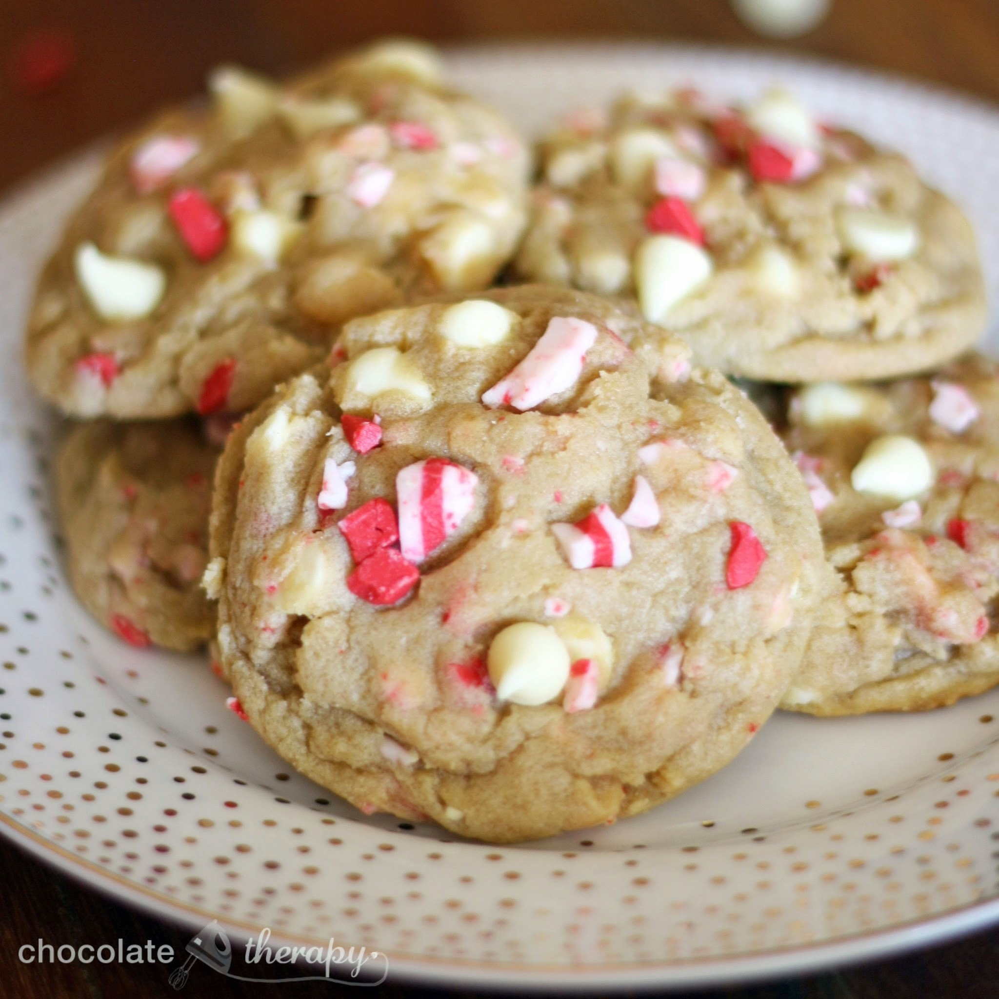 Peppermint White Chocolate Pudding Cookies