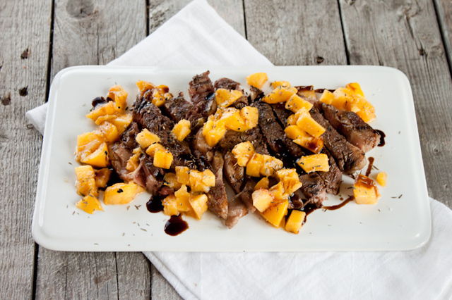 Peppered Steak with Grilled Peach Salsa