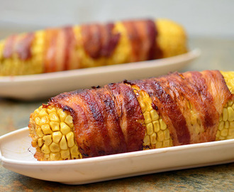 Bacon-wrapped Corn with Chipotle Honey Glaze