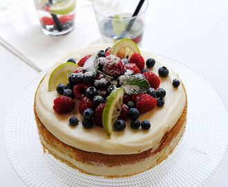 Hazelnut Cake with White Chocolate Frosting and Fruit