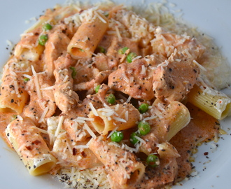 Spicy Chicken Rigatoni (Buca di Beppo Copycat). New Music From Geoff Ong.