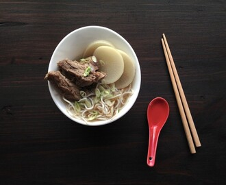 Ming-Cheau wrote a new post, Gluten-free Pork Short Rib and Daikon Noodle Soup, on the site Butterfingers