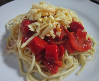 ITALIAN SPAGHETTI with HOTDOGS and MUSHROOM
