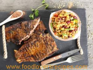 SUMPTUOUS STEAK WITH SAUCY RICE SALAD