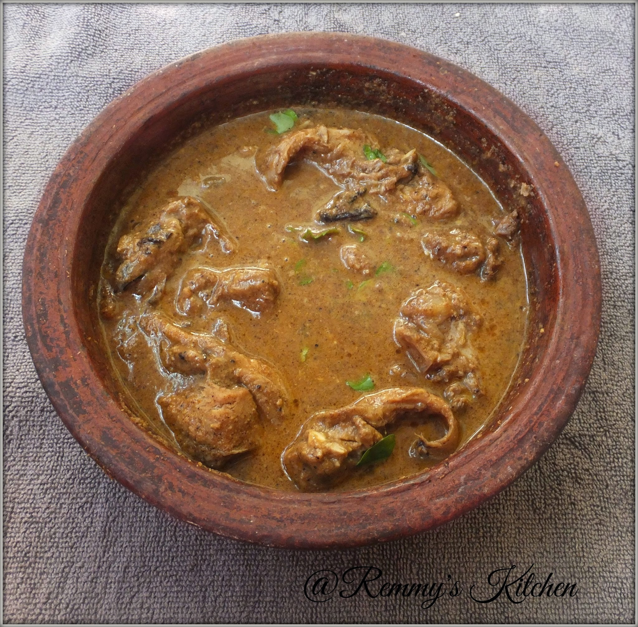 Varutharacha meen curry/Fish in roasted coconut gravy Kerala style