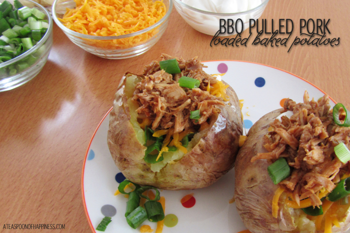 BBQ Pulled Pork Loaded Baked Potatoes