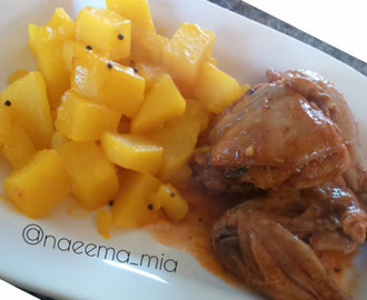 Masala chicken with dry potato curry