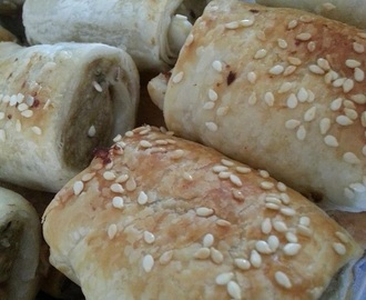 Turkey Sausage Rolls with rosemary, craisins and macadamia nuts