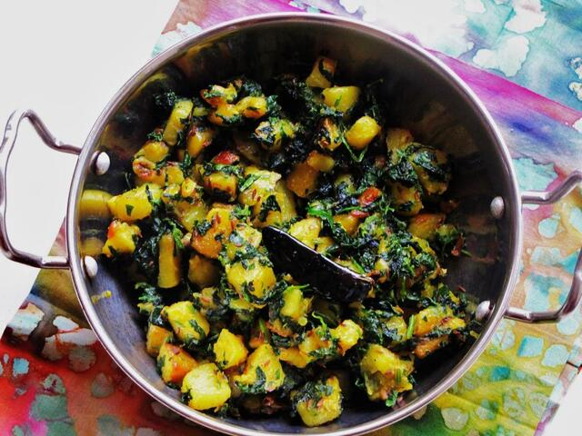 Aloo Methi (Potatoes and Fresh Fenugreek Leaves)