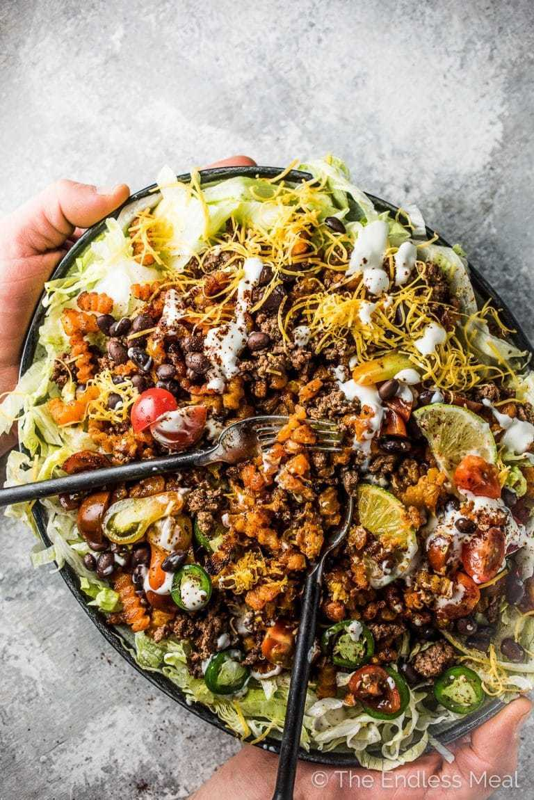 Loaded Butternut Squash Zig Zag Taco Salad Fries