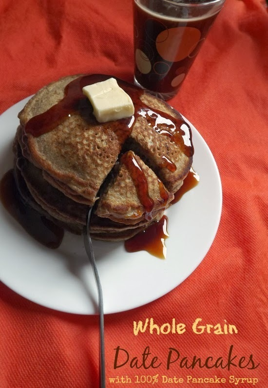 Naturally Sweetened Whole Grain Date Pancakes with Date Pancake Syrup { GLUTEN FREE ADAPATABLE }