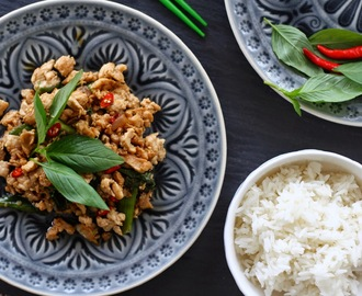 Thai fried chicken with basil leaves