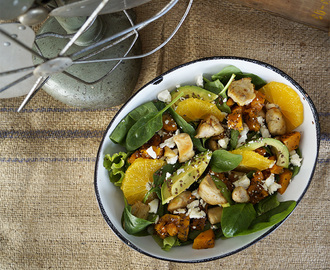 Butternut and chicken salad with baby spinach and orange
