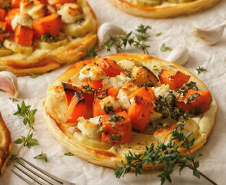 Sweet Potato, Butternut and Chevin Tarts