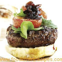 FETA CHEESE BURGER WITH FRIED TOMATOES AND ONION MARMALADE