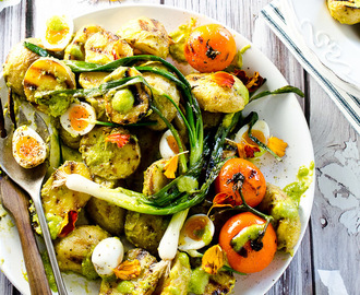 Grilled Potato Salad with Scallion Pesto