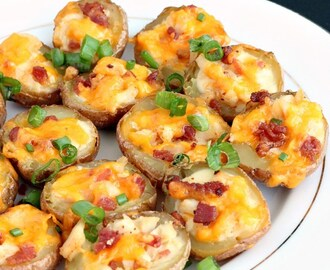 Chicken Bacon Alfredo Potato Skins