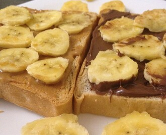Instagram: Current favorite. Ludy's Peanut Butter + Nutella + banana slices. #snack #bacontunamelt