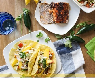 Blackened Salmon Tacos with Pickled Cabbage Salsa and Mango