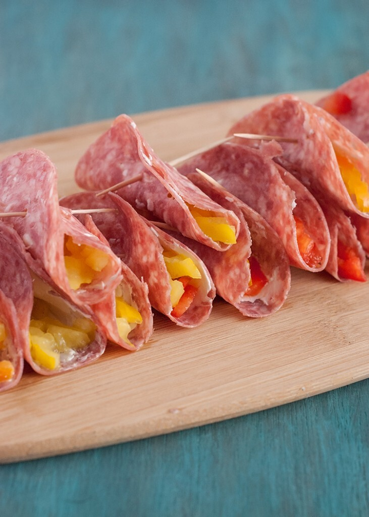 Salami and Cream Cheese Roll Ups