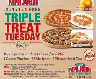 Papa John's Triple Treat Tuesday: Buy 2 Pizzas and Get Pasta, Sides, and Drinks for Free