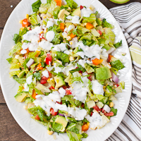 Tomato and Corn Chopped Salad with Cilantro Ranch Dressing
