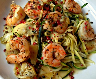 Healthy Shrimp Piccata with Zoodles (Zucchini Noodles)